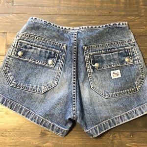 VINTAGE Silver Jeans High Waist Jean Shorts